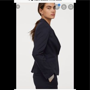 H&M fitted blazer French navy with striped lining